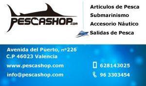 tarjeta de visita tienda de pesca Valencia Pescashop